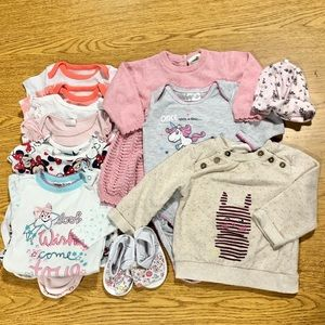 Bundle of Baby Girl Dress Bodysuits Sweater Tshirt